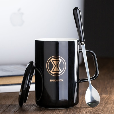 Super Heroes Ceramic Mug With Lid With Spoon