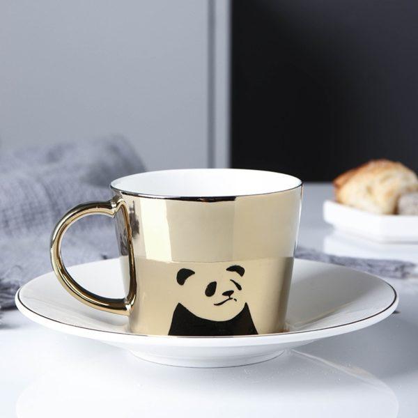 Creative Coffee Mug with Tray Cup Plating Mirror Reflection Cup Mug Ceramic Coffee Cup and Saucer Set Travel Stirrer Funny Mugs