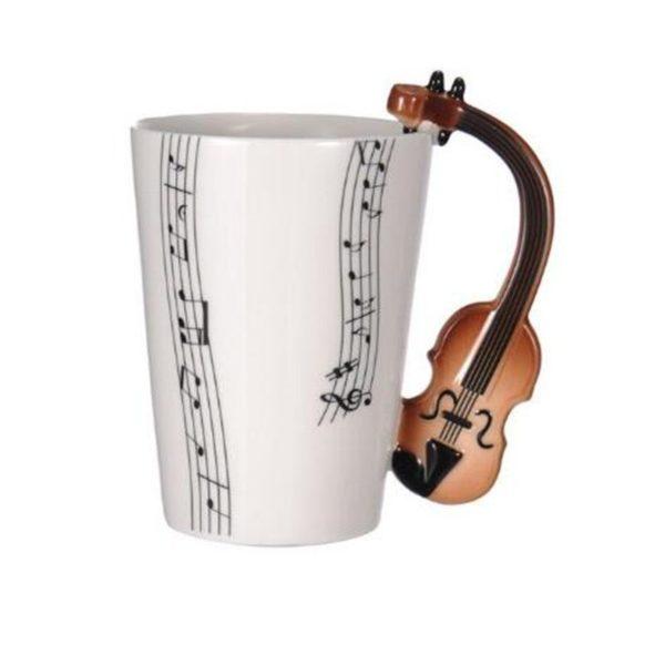 250 ml Creative Mug Coffee Cup Music Note Mug Violin Guitar Saxophone Handle Tea Milk Piano Stave Cups Novelty Gifts For Kids