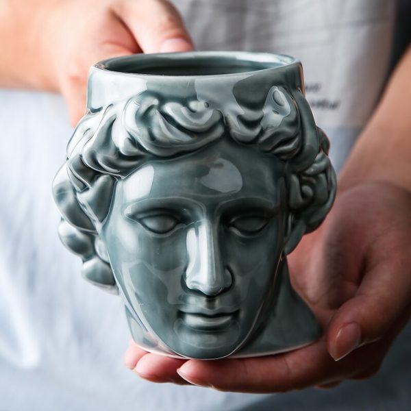 Ceramic David Head Mug Large-capacity Ancient Greek Apollo Sculpture Cup Office Personalized Coffee Cup Desktop Decoration