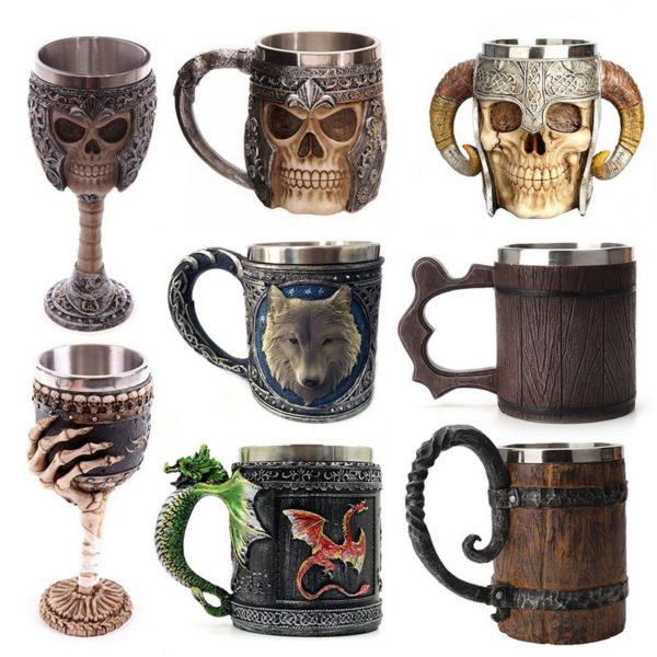 Hot Retro Horn Skull Resin Beer Mug Stainless Steel Skull Knight Halloween Coffee Cup Viking Tea Mug Pub Bar Decoration