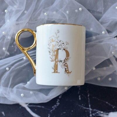 OUSSIRRO Gold Handle Couple Cup Bone china Coffee Mug Creative Letter Wedding Birthday Gift