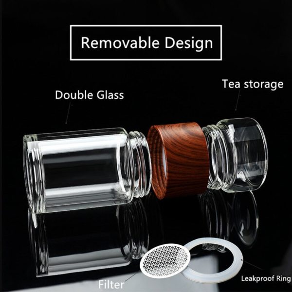 Portable Double Wall Glass Tea Mug Coffee Travel Cup Infuser Drink Bottle Tumbler Drinkware Eco-Friendly