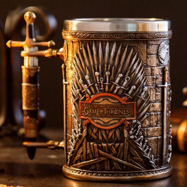 Game Of Throns Medieval Beer Mug Iron Throne Sword Tankard Stainless Steel Resin 3D Coffee Cup and Mug Fans Christmas Gift