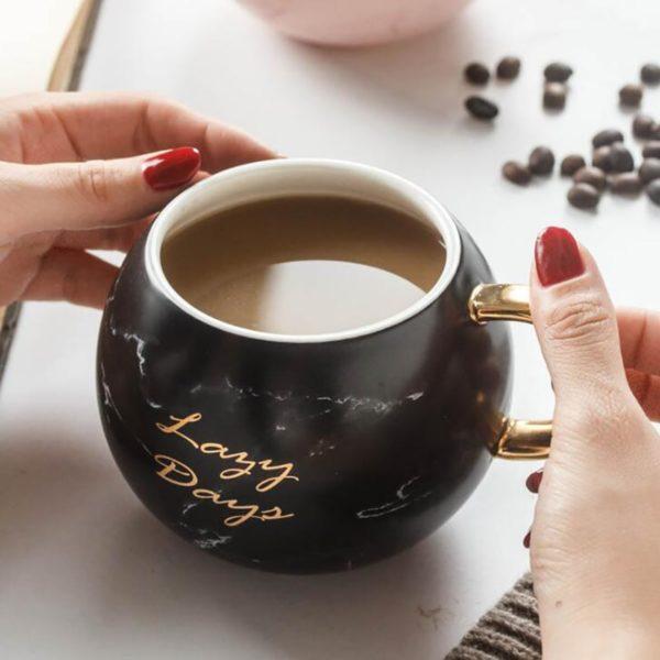 Coffee Mug with Gold 530ML Ceramic