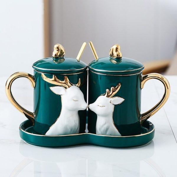EWAYS 2Pcs/Set Creative Ceramic Couple Cup Love Mug with Spoon Tray Lid Valentine's Day Wedding Birthday Gifts With Gift Box
