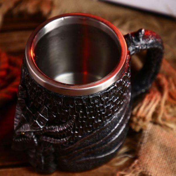 Dragon Head Stainless Steel Resin Mug Goblet Game of Thrones Tankard