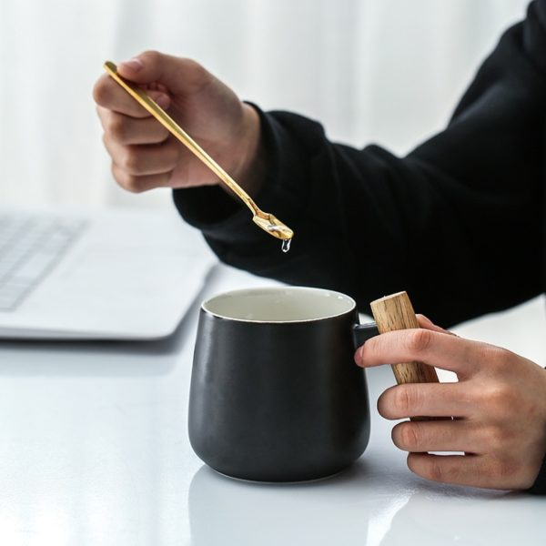 Nordic Style Black White Mug with Wooden Handle and Spoon