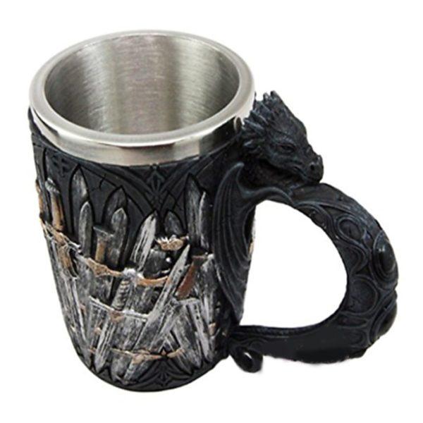 Game of Thrones Mug Dragon Iron Sword Stainless Steel Layer Inside Resin