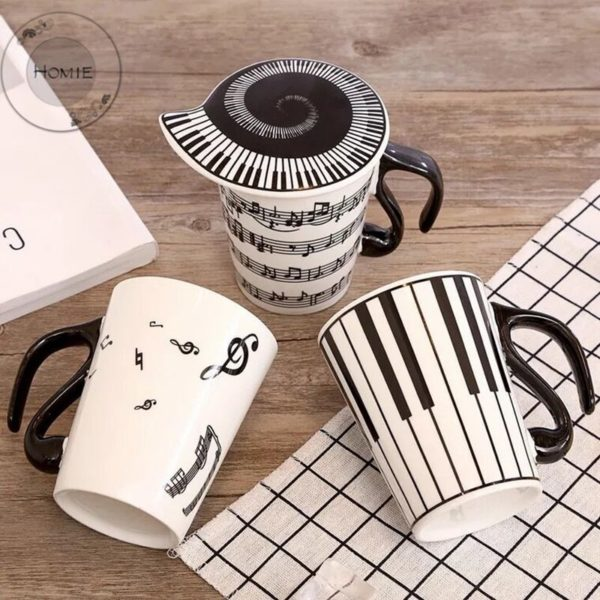 HOMIE Creative Ceramic Mug with Cup lid Coffee Cup Piano Musical Note Coffee Mugs Tea Cup Porcelain Travel Cup For Milk Mug