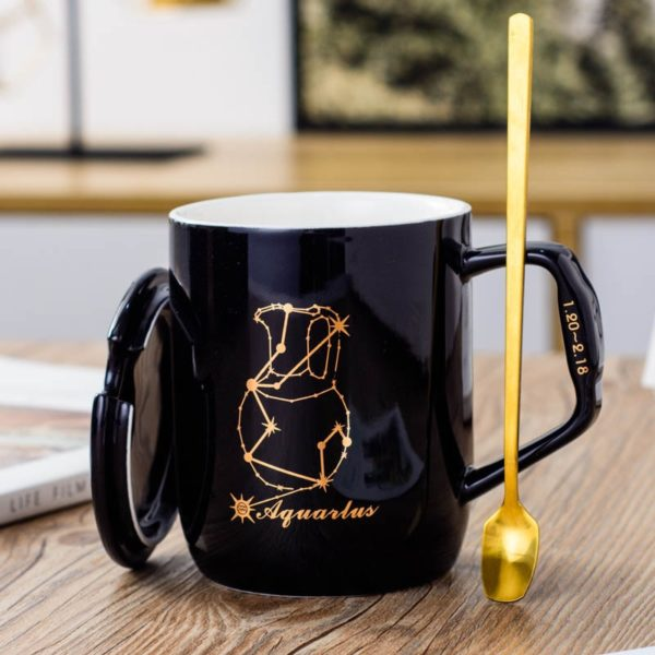 12 Styles Constellation Ceramic Mug with Covered Spoon Creative Black and White Couple Coffee Cup ins Water Cup