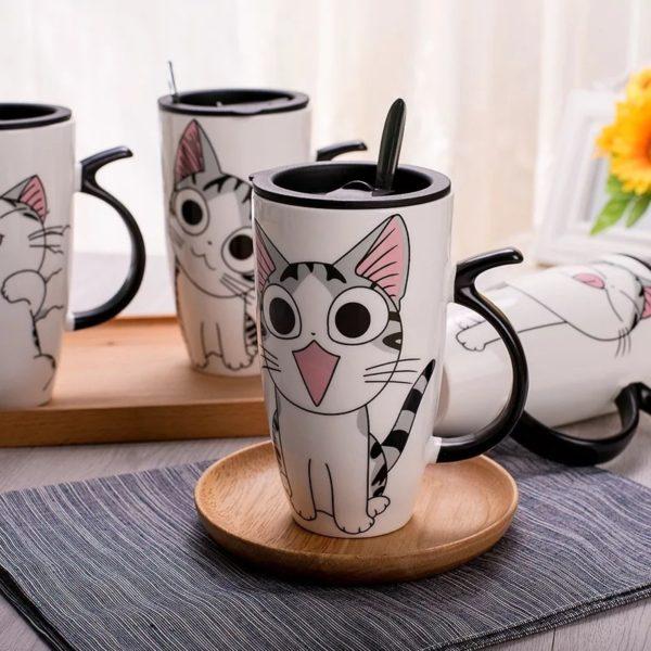 600ml Creative Cat Ceramic Mug With Lid and Spoon Cartoon Milk Coffee Tea Cup Porcelain Mugs Nice Gift