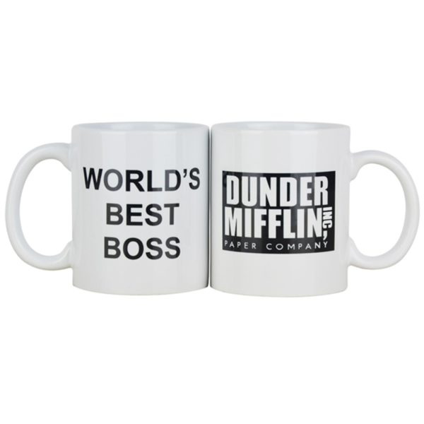 Dunder Mifflin The Office-World's Best Boss Coffe Cups and Mugs 11 oz Funny Ceramic Tea/Milk/Cocoa Mug Unique Office Gift
