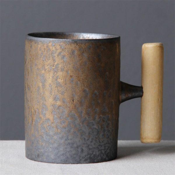 Japanese-style Vintage Ceramic Coffee Mug Tumbler Rust Glaze Tea Milk Beer Mug with Wood Handle Water Cup Home Office Drinkware